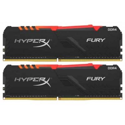 Модуль памяти DDR4 32Gb (2x16Gb) Kingston 2666MHz HyperX FURY RGB CL16 HX426C16FB3AK2/32
